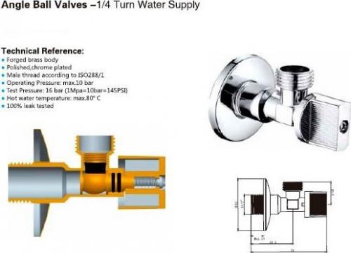 Aqualine Rohový kulový ventil 1/2'x3/8', bez matky, chrom 5306