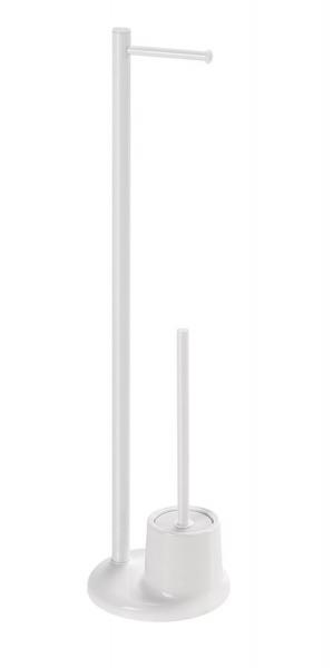 Aqualine Stojan s držákem na toaletní papír a WC štětkou, bílá MM32
