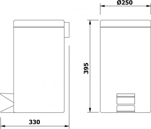 Aqualine SIMPLE LINE odpadkový koš kulatý 12l, leštěný nerez 27112