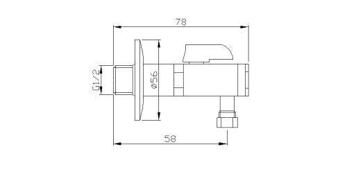 Reitano Rubinetteria Rohový ventil s matkou, 1/2'x 3/8', nikl 2020NK