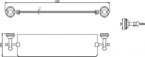 Sapho ASTOR skleněná police, chrom 1325-15