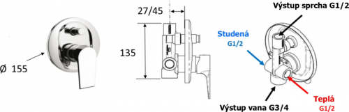 Sapho KAI podomítková sprchová baterie, 2 výstupy, chrom KA42