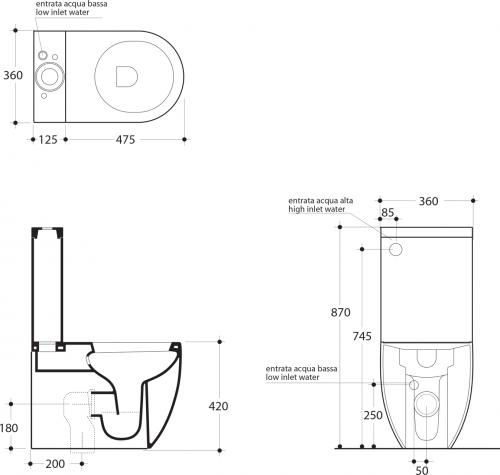 Kerasan Kombi WC Flo, spodní/zadní odpad WCSET11-FLO