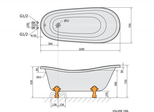 Polysan RETRO volně stojící vana 169x75x72cm, nohy chrom mat, bílá 42122