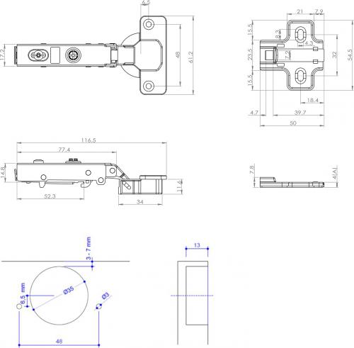 Sapho Nábytkový závěs 105°naložený, integr.tlumení, podložka, eurošroub DZ109D