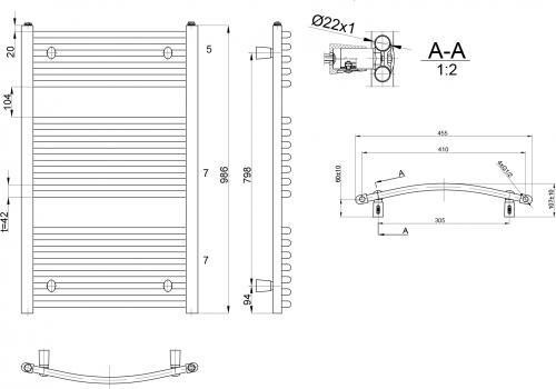 Aqualine ORBIT otopné těleso s bočním připojením 450x986 mm, 432 W, bílá ILO94E
