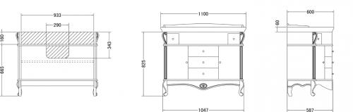 Gallo Wood GIGLIO 110-P skříňka s umyvadlem, š. 110cm, noce GP-110
