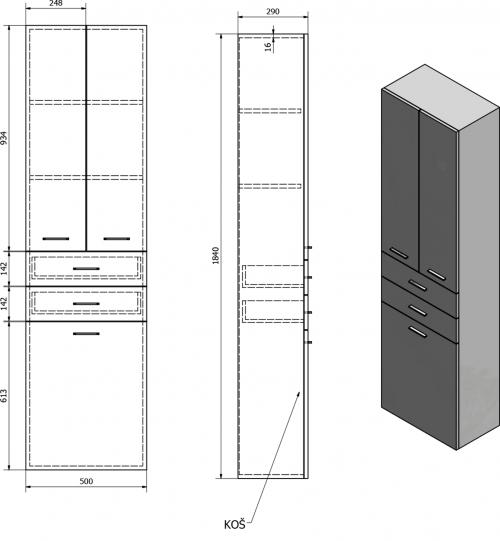 Aqualine ZOJA/KERAMIA FRESH skříňka vysoká s košem 50x184x29cm, bílá 51293