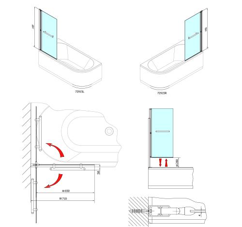 Polysan RIONI pneumatická vanová zástěna 710 mm, stříbrný rám, čiré sklo 72915