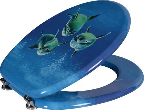 Aqualine FUNNY WC sedátko s potiskem delfíni, MDF HY-S115