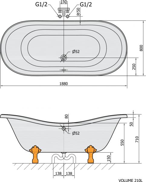 Polysan CHARLESTON volně stojící vana 188x80x71cm, nohy chrom mat, černá/bílá 72958