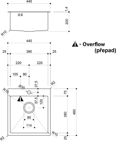 Sapho EPIC nerezový dřez s otvorem pro baterii, 44x48x20 cm EP447