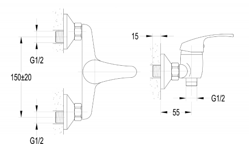 Aqualine AQUALINE 35 nástěnná sprchová baterie, rozteč 150mm, chrom 52126