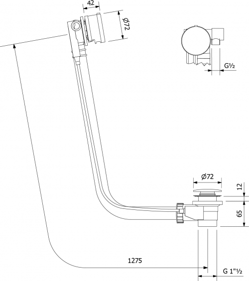 Polysan Vanová souprava s napouštěním, bovden, délka 1275mm, zátka 72mm, chrom 73164