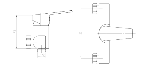 Aqualine ARETA 35 nástěnná sprchová baterie, chrom GH245