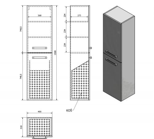 Aqualine VEGA skříňka vysoká s košem, 40x150x31 cm, dub platin VG960
