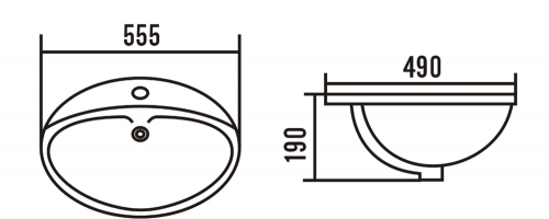 Aqualine Keramické umyvadlo 55x48x19 cm, zápustné 55481
