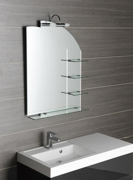 Aqualine WEGA zrcadlo 65x90cm, zaoblené, s policemi 65028