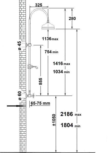 Reitano Rubinetteria ANTEA sprchový sloup k napojení na baterii, hlavová a ruční sprcha, zlato SET035