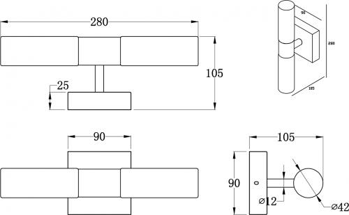 Sapho ABAS svítidlo, 2x25W, G9, 230V, IP44 chrom AU421
