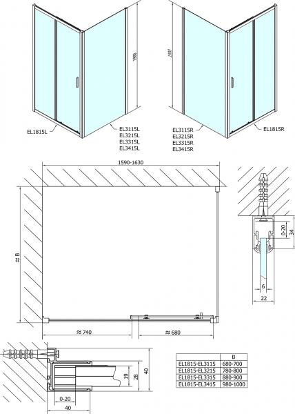 Polysan Easy Line obdélníkový sprchový kout 1600x700mm L/P varianta EL1815EL3115