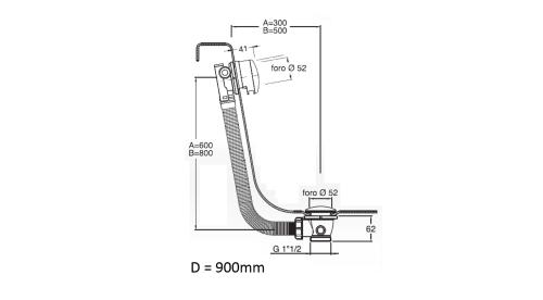 Silfra MODEL U1 vanová souprava s napouštěním, Click Clack, délka 900mm, zátka 72mm, chrom U1A110051