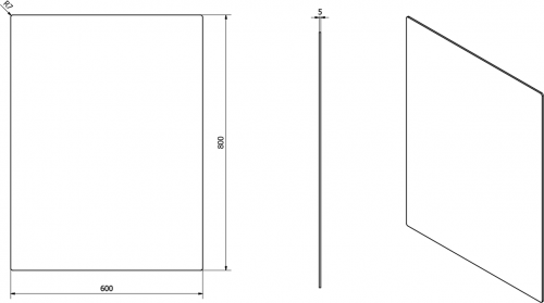 Sapho PLAIN zrcadlo 60x80cm, zakulacené rohy, bez úchytu 1501-26