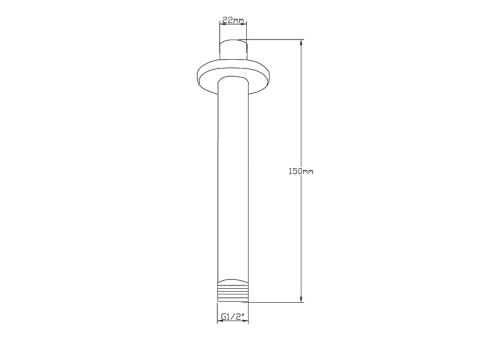 Sapho Sprchové stropní ramínko, kulaté, 150mm, chrom 1205-08