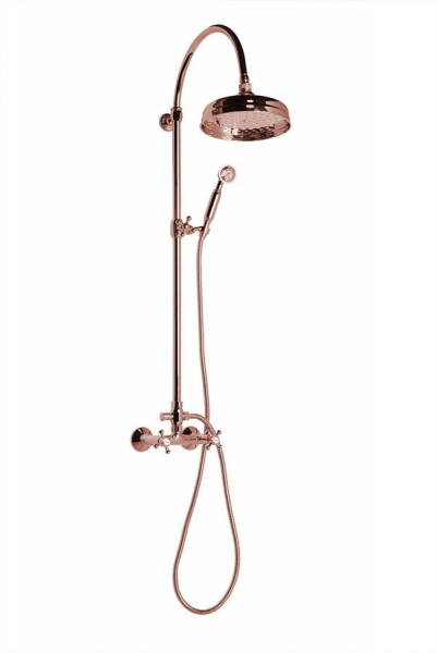 Reitano Rubinetteria ANTEA sprchový sloup k napojení na baterii, hlavová a ruční sprcha, růžové zlato SET037