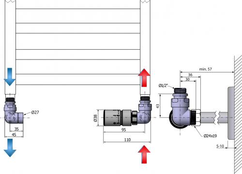 Sapho CORNER připojovací sada ventilů termostatická, pravé, broušený nerez CP1512R