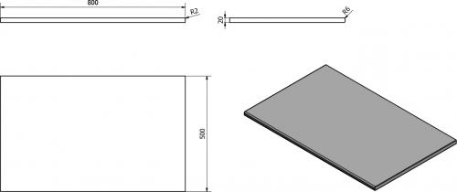 Sapho OLIVER deska 80x2x50cm, technický mramor, Rosa del Garda OV080-1215