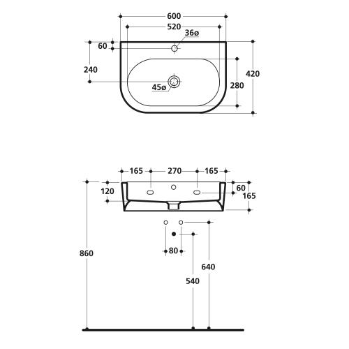 Kerasan FLO keramické umyvadlo 60x42cm 314201