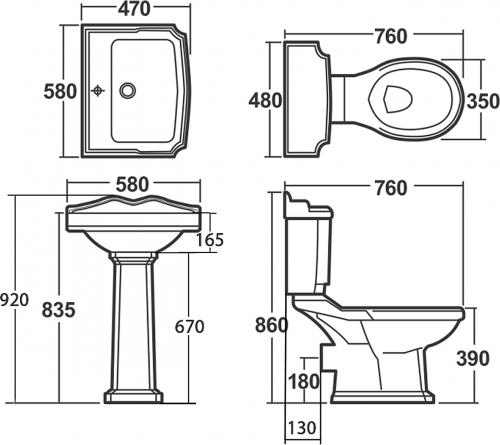 Aqualine ANTIK WC kombi, mísa+nádržka+splachovací mech. s páčkou+PP sedátko, bílá/chrom AK107