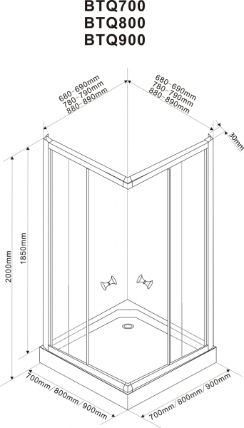 Aqualine ALAIN čtvercová sprchová zástěna 700x700 mm, sklo BRICK BTQ700