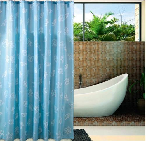 Aqualine Sprchový závěs 180x200cm, polyester, modrá, mušle ZP006