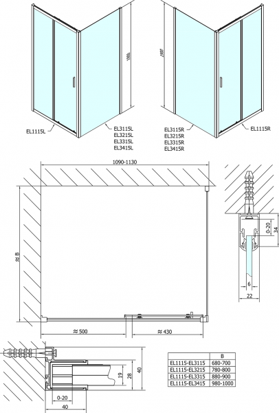 Polysan Easy Line obdélníkový sprchový kout 1100x800mm L/P varianta EL1115EL3215