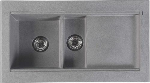Sapho Dřez granitový vestavný s odkapávací plochou a vaničkou, 95, 8x53, 4 cm, šedá GR1303