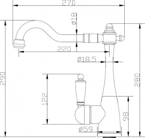 Sapho KAYRA stojánková dřezová baterie, chrom K1052