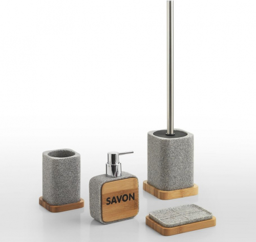 Gedy NORA WC štětka na postavení, šedá/bambus NR33