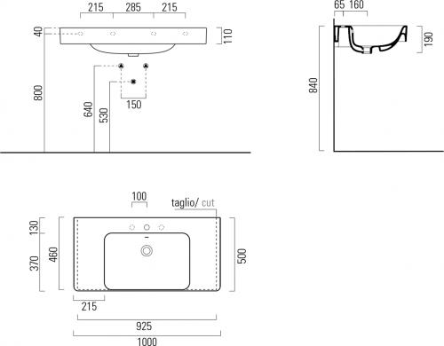 GSI SAND keramické umyvadlo 100x50 cm s odkladnými plochami, bílá ExtraGlaze 9051111