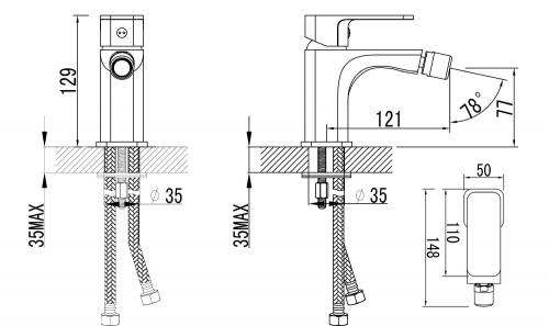 Aqualine FACTOR stojánková bidetová baterie bez výpusti, chrom FC203