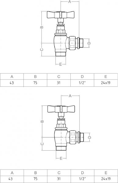 Sapho STAR připojovací sada ventilů ruční rohová, chrom CP5020