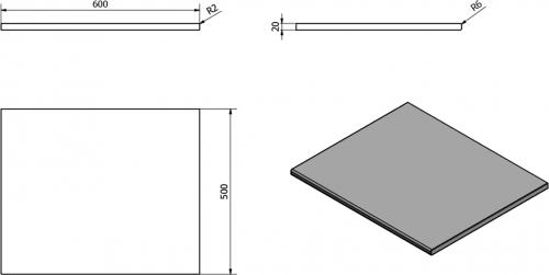Sapho OLIVER deska 60x2x50cm, technický mramor, Grigio carnico OV060-1218