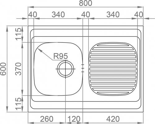 Nerezový dřez Sinks CLP-A 800 M 0,5mm matný RDCPM8006005M