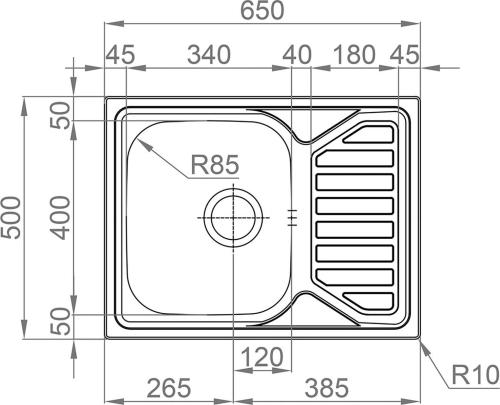 Nerezový dřez Sinks OKIO 650 V 0,6mm matný RDOKM6505006V