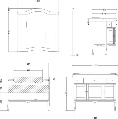 Gallo Wood IRIS PAT 110-S skříňka s umyvadlem, š. 110cm, avorio IP-110