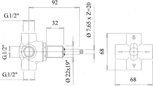 Reitano Rubinetteria ANTEA podomítkový přepínač, chrom DEVIN21