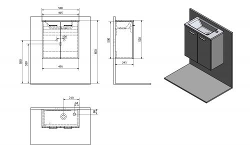 Aqualine ZOJA umyvadlová skříňka 49x50x23, 5cm, mali wenge 51047MW