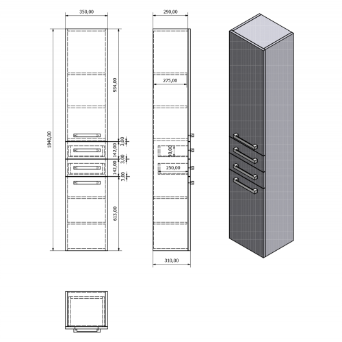 Aqualine VEGA skříňka vysoká 35x184x31cm, bílá VG185