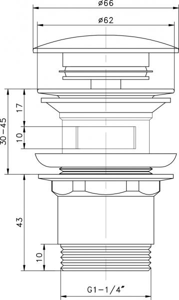 """Aqualine Umyvadlová výpust 5/4"""", click-clack, velká zátka, tl.30-45mm, chrom TF7001"""